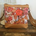Jasmine Crossbody Bag - Orange & Mustard Floral/Mustard Faux Leather