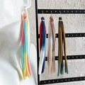 Unique Colourful Super long fabric tassel dangle earrings , Rainbow Multi colour