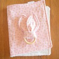 Burp Cloth & Teether Gift Set - Pink triangles