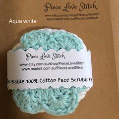 Face Scrubbies, 5 x Aqua White textured pack, 10cm diameter, reusable, washable