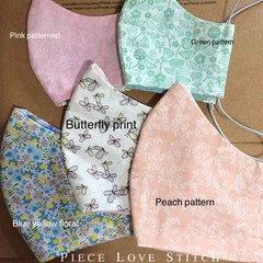 Face Masks, PATTERNED Fabrics, 100% cotton with filter pocket, Australian made,