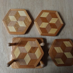 Set of 4  Hexagonal Wooden Coasters with Stand