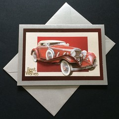 Best Wishes - Classic Red Vintage Car on Silver Birthday Card