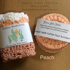 Washcloth + 3 Scrubbies, pack 4 pcs, 100% cotton, reusubale, washable, Australia