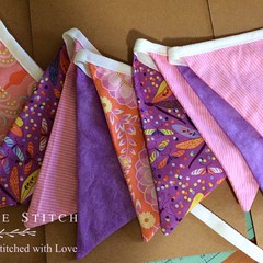 BUNTING, 100% cotton, 10 x double sided flags,  purple orange colours