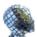 Guardian of the Vines: a glass mosaic scultpure