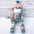 'Olive' the Sock Monkey - khaki, mint and peach camouflage  - *MADE TO ORDER*