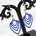 Delicate Blue Torch-Fired Enamel Copper & Sterling Silver Earrings