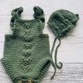 Newborn Crochet Baby Romper with bonnet 100%wool.