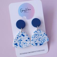Denim Splatter Earrings