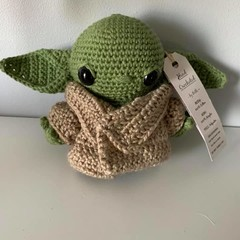 Baby Yoda (Baby Grogu) MADE TO ORDER with Removable Robe