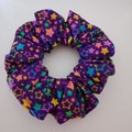 Purple star print scrunchie / hair accessory