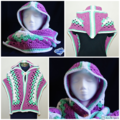 Hooded scarf - Granny square scarf - Hoodie scarf