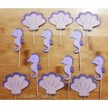 seahorse and shell glittery cupcake toppers 6 or12