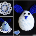 NOW FREE SHIPPING Bunny egg with cosy in shades of Blue