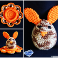 NOW FREE SHIPPING Bunny egg with cosy in shades of brown and orange