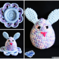 NOW FREE SHIPPING Bunny egg with cosy in shades of pink purple and blue