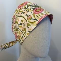 Unique reversible Scrub Hat - Pink/Maroon Garden