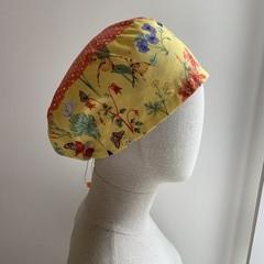 Unique reversible Scrub Hat - Yellow Botanicals