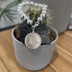 Australian Florin 925 Silver filled 10mm Beaded Bracelet