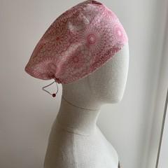 Unique reversible Scrub Hat - Pink Medallion/Swirls