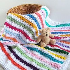 Rainbow of Colours  Newborn Hand Crocheted Baby Blanket
