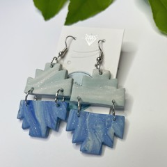 Blue Marbled and Sparkle Earrings