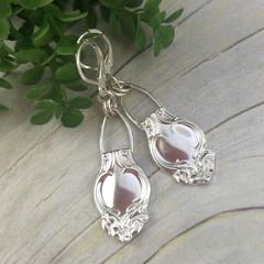 SPOON EARRINGS, Sterling Silver. Art Nouveau 'Handbag' Dangle Earrings.
