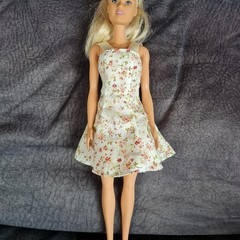 Barbie doll dress cream with red and pink flowers / dolls clothes