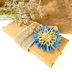 Natural Fibre Flower Embellishment Gift Tag Jute Decoration Rustic