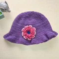 Purple flowered cloche hat beanie - 18 to 24 months ~ 49cm