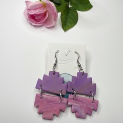Purple and Pink Marbled Sparkle Dangle