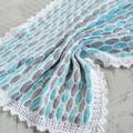 Mint Blue/Aqua, Grey & White Newborn Hand Crocheted Baby Blanket