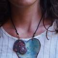 SteamPunk Heart - copper enamel pendant
