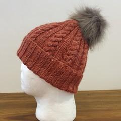 Hand knitted wool/bamboo winter beanie (Rust) - teen/woman