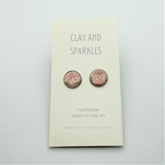 Stud earrings - Soft pink and brown