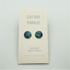 Stud earrings - Floral turquoise
