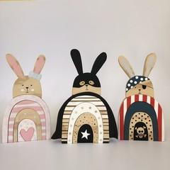 Handmade Wooden Rabbit Stacker.