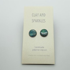 Stud earrings - Floral copper and teal