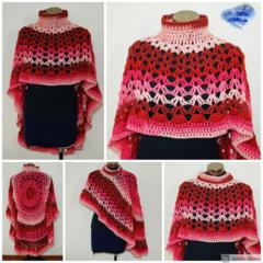 Berries passion Crochet Asymmetrical Circular Poncho.
