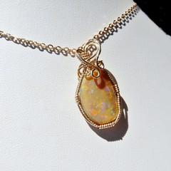 Beautiful Andamooka Honey Opal 14k gold filled wire wrapped pendant