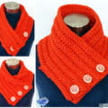 Orange crochet cowl 2 strands with wooden buttons