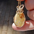 Beautiful Andamooka Honey Opal 14k gold filled wire wrapped pendant