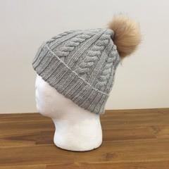 Hand knitted wool/bamboo winter beanie (steel blue tweed) - teen/woman