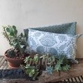 SAGE GREEN/OFF-WHITE  LUMBAR   CUSHION COVER