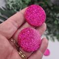 Molly Mega Hot Pink Sparkle Circle - Mega Stud Earrings