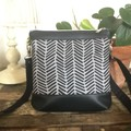 Jasmine Crossbody Bag - Black & Grey Chevron/Black Faux Leather