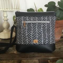 Jasmine Crossbody Bag - Black & Grey Chevron/Black Faux Leather