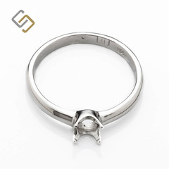 Classic Solitaire Ring with Round Setting in Sterling Silver for 5mm Round Stone