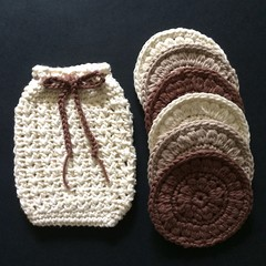 Cream Soap Saver with Brown Tie and Six  Scrubbies in Cream, Natural and Brown